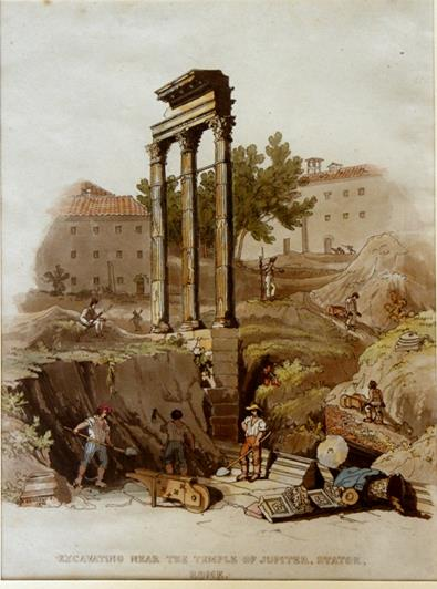 Excavating near the Temple of Jupiter Stator. Rome, 1822.